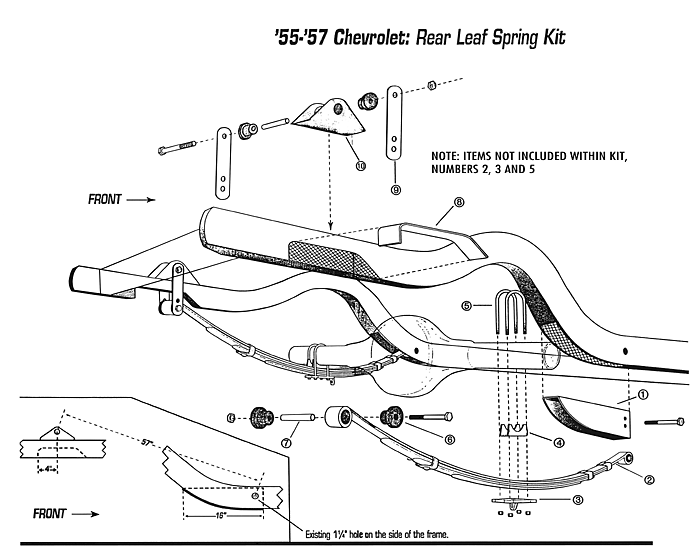ford leaf spring diagram ford fuse box diagram 99 ford contour 55-57 chevy belair, rear leaf spring relocation kit #rspk5557 - performance online, inc