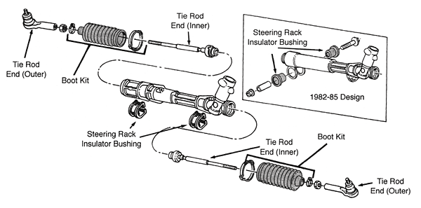 Typical Rack N Pinion Steering System on Toyota Corolla Parts Diagram