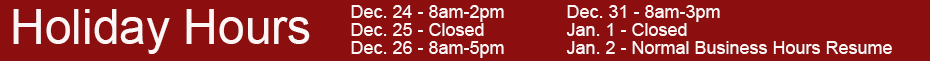 2014 Holiday Hours