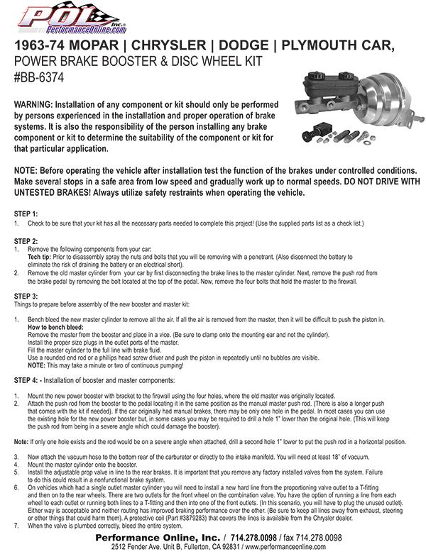 Power Brake Booster Kit Mopar Dodge Chrysler Plymouth - Chrysler affiliates list
