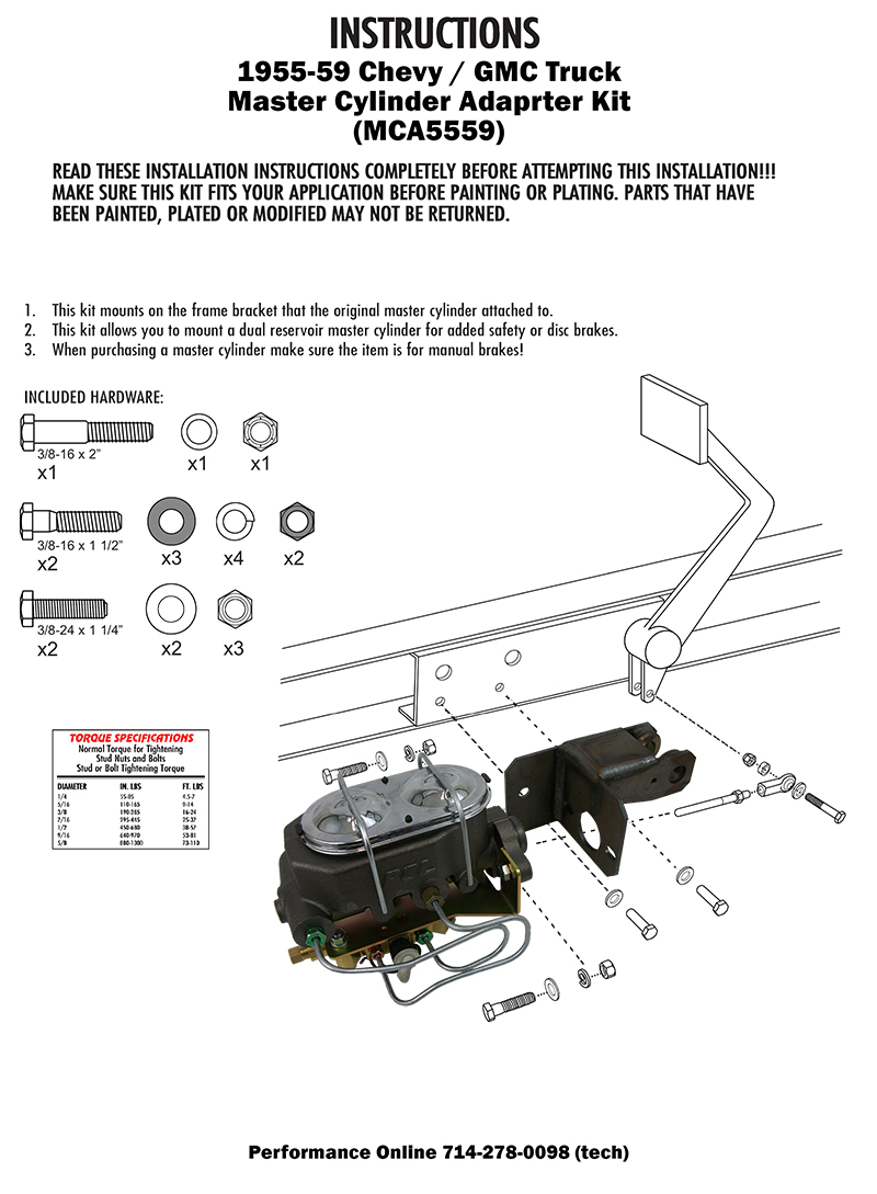 1955-59 Chevy Truck and GMC Truck Manual Master Cylinder kit, Drum Brakes