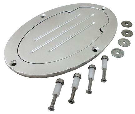 Fuel Tank and Master Cylinder Access Door, Billet Aluminum, Polished, Oval
