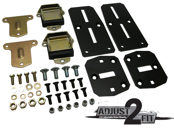 Adjust-2-Fit Adjustable Chevy LS Engine Adapter Kit with Poly Urethane Mounts