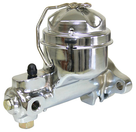 Chrome single reservoir GM master cylinder.