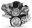 Chevy LS 6 Rib Serpentine Pulley Kit w/ Billet Attached PS Reservoir, Machined Finish
