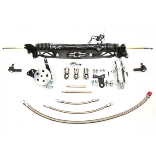 1960-66 Chevy C10, GMC C15 Truck Power Steering Rack and Pinion Kit, Drum Brakes