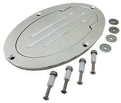 BILLET ALUMINUM FUEL TANK ACCESS DOOR - POLISHED OVAL