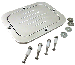 BILLET ALUMINUM FUEL TANK ACCESS DOOR - POLISHED RECTANGLE