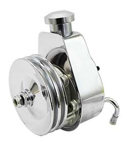 Saginaw Power Steering Pump, Chrome with Billet Cap and Chrome Pulley