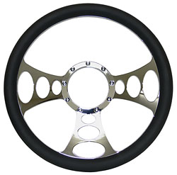 "Billet Steering Wheel, Chromed 14"" Web Style with Black Leather Grip"