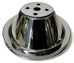 SMALL BLOCK CHEVY SHORT WATER PUMP PULLEY, CHROME SINGLE GROOVE