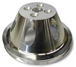 SMALL BLOCK CHEVY SHORT WATER PUMP PULLEY, ALUMINUM SINGLE GROOVE