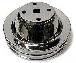 SMALL BLOCK CHEVY SHORT WATER PUMP PULLEY, CHROME 2 GROOVE