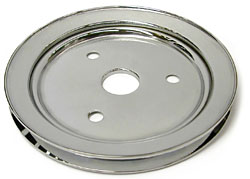SMALL BLOCK CHEVY SWP CRANKSHAFT PULLEY, CHROME SINGLE GROOVE