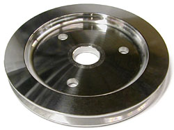 SMALL BLOCK CHEVY SWP CRANKSHAFT PULLEY, ALUMINUM SINGLE GROOVE