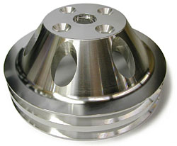 SMALL BLOCK CHEVY LONG WATER PUMP PULLEY, ALUMINUM 2 GROOVE