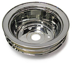 SMALL BLOCK CHEVY LWP CRANKSHAFT PULLEY, CHROME 2 AND 3 GROOVE