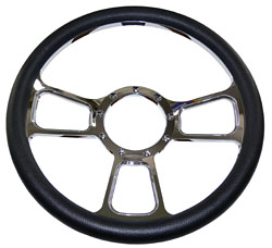"Billet Steering Wheel, Chromed 14"" GT Sport Style with Black Leather Grip"