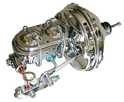 1966-70 Chevy Impala Caprice Biscayne Fullsize Car Power Brake Booster Kit, Chrome