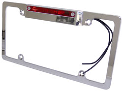 License Plate Frame, Chromed Aluminum with Brake Light
