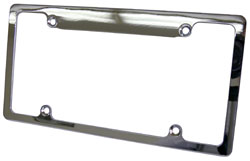 CHROMED ALUMINUM LICENSE PLATE FRAME (EACH)(POL9979C)