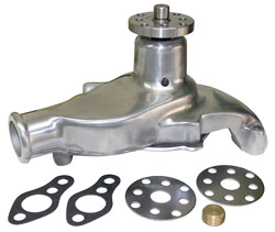 WATER PUMP, SM. BLOCK CHEVY (POLISHED ALUMINUM)