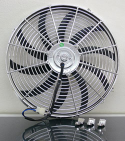 "CHROME PLATED 16"" UNIVERSAL SUPER THIN COOLING ELECTRIC FAN, REVERSIBLE (12v)(REF-16C)"
