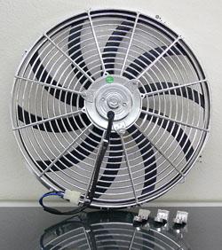 "Electric Fan, 16"" Universal Super Thin Electric Cooling Fan, Reversible Chrome, 12 Volt"