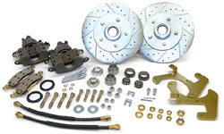 1949-54 CHEVY SEDAN, FRONT STOCK SPINDLE DISC WHEEL BRAKE KIT (LG. GM CALIPERS)